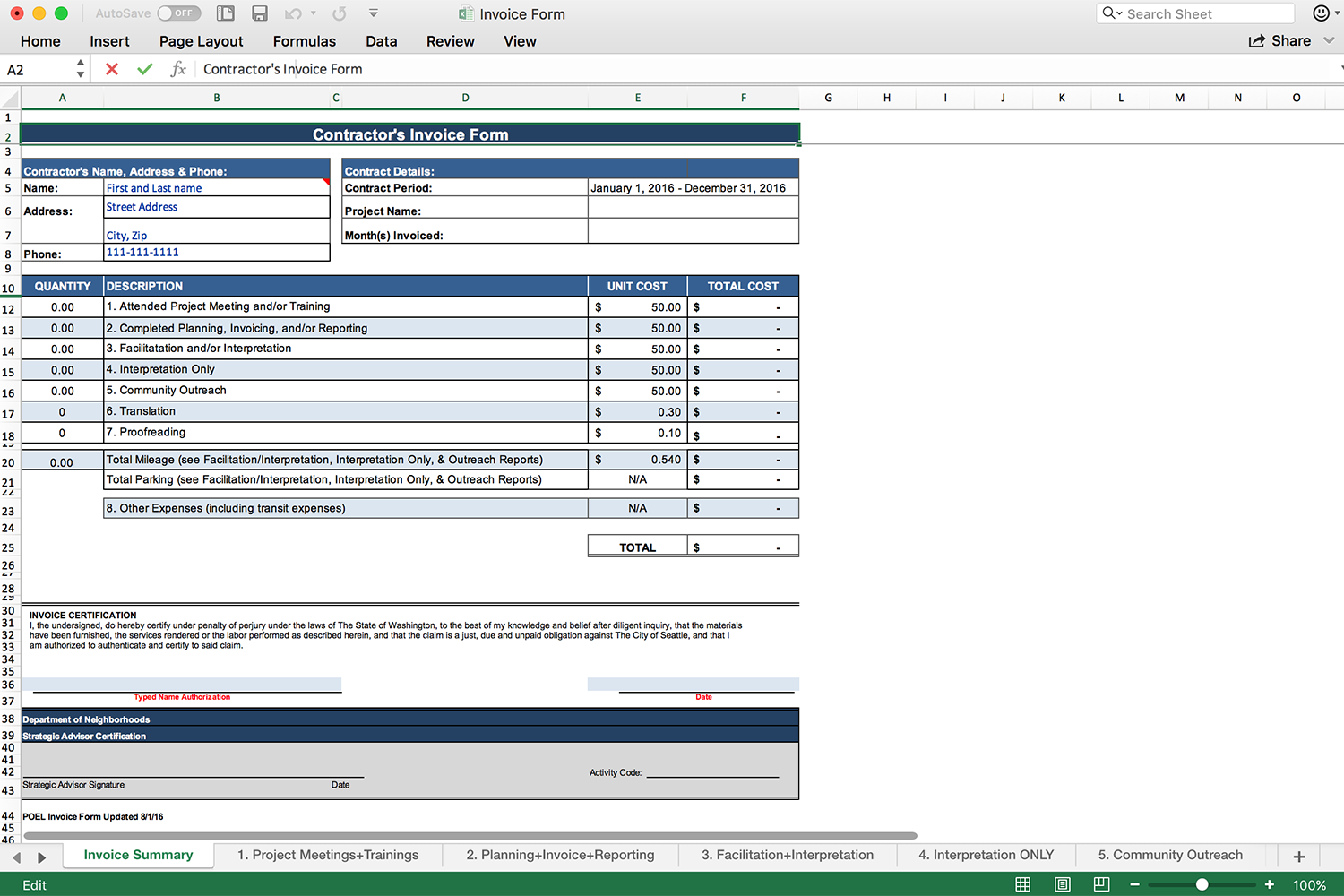 Old Excel invoicing form